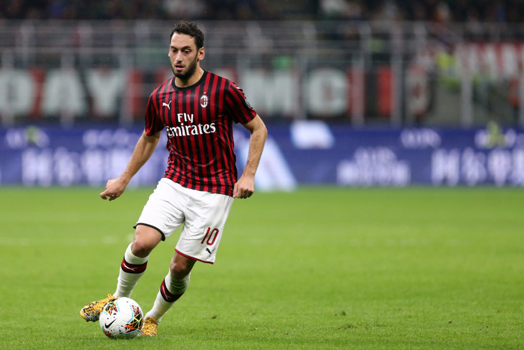 Hakan Calhanoglu  of Ac Milan in action   during the  Serie