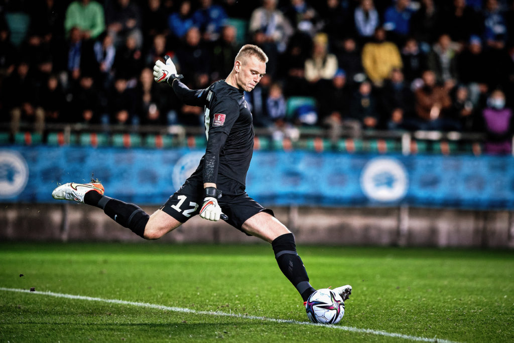 Karl Hein (12) of Estonia seen in action during the FIFA